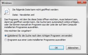 EML Datei einfach zu Windows Mail zuordnen funktioniert nicht