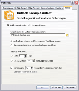 Optionen des OBA Outlook AddIns