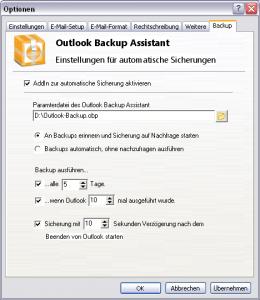 Optionen des OBA Outlook AddIns