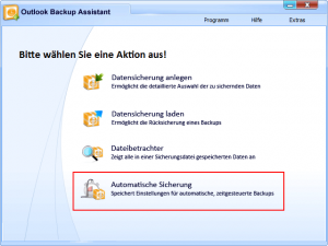 Outlook Backup Assistent Hauptseite
