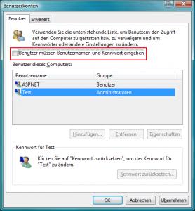 Automatisches Anmelden eines Benutzer unter Windows Vista