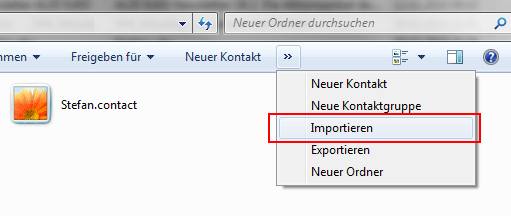 Auswahl einer WAB Datei zum Import in den Windows 7 Kontaktordner