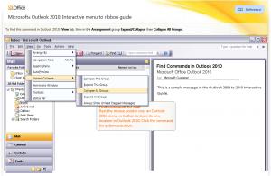 Auswahl eines Menüpunktes in Outlook 2003
